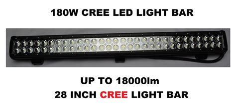 12v 24v 180w 14400lm 28 inch cree led work bar flood light