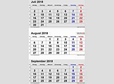 Kalender August 2018 als PDFVorlagen