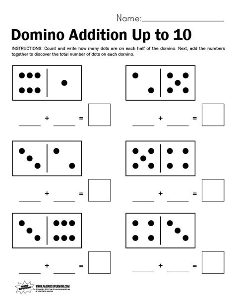 domino worksheet adding up to 10 levi