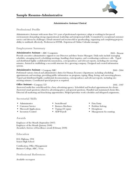 Professional Profile Resume Exles by Resume Professional Profile Exles Professional Profile