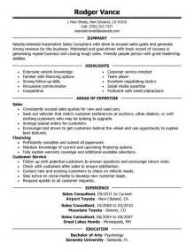 sle of employment resume unforgettable sales consultant resume exles to stand