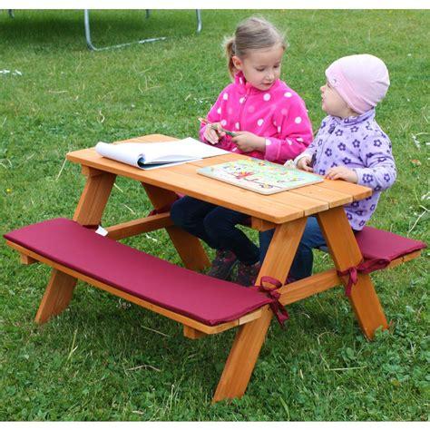 Kinder Gartenmöbel by Kinder Sitzgruppe Picknickbank Habau Mit Polsterauflage