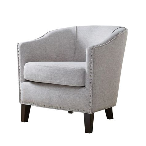 Gray Nailhead Barrel Arm Chair