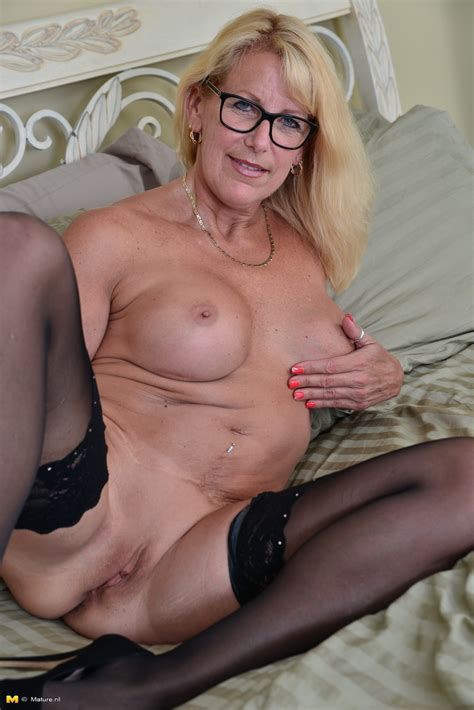 Canadian Housewife In Glasses Strips Down To Stockings And Heels On Her Bed