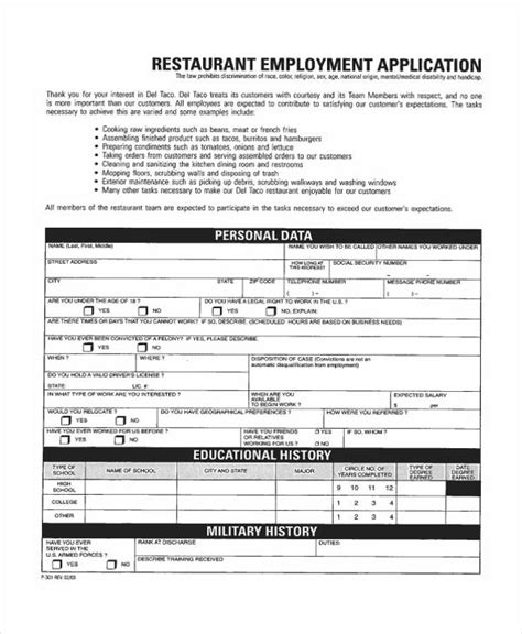 application cuisine 35 free application form template