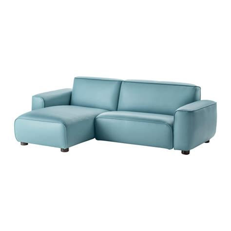 canapé faux cuir dagarn two seat sofa with chaise longue kimstad turquoise