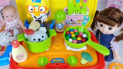 baby doll kitchen car toys cooking food  surprise eggs
