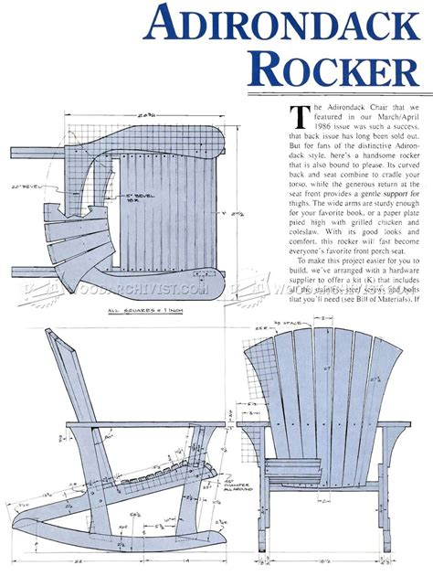 adirondack rocking chair plans woodarchivist