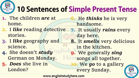 sentences  simple present tense english study