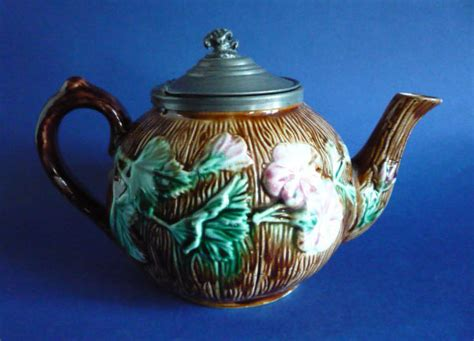 Antique Home Interior - antique victorian floral majolica teapot with pewter lid c1880