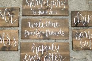 set of rustic wood wedding signs hand lettered by With hand lettered wooden signs