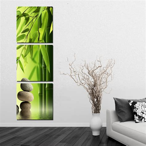 3 Pieces Set Bamboo Painting On Wall Feng Shui Canvas