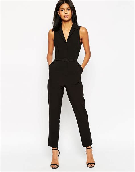 asos black jumpsuit asos tailored jumpsuit with shirt detail in black lyst