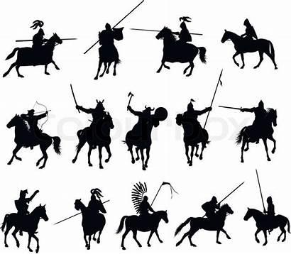 Horsemen Vector Knights Illustrations Horse Medieval Silhouettes