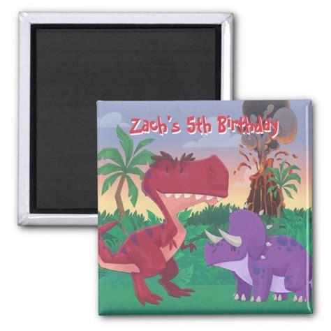 cute dinosaur jungle scene magnet dinosaur party