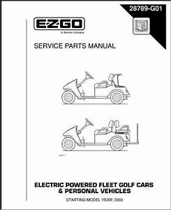 ezgo 28789g01 2003 2004 service parts manual for electric With ezgo manuals pdf