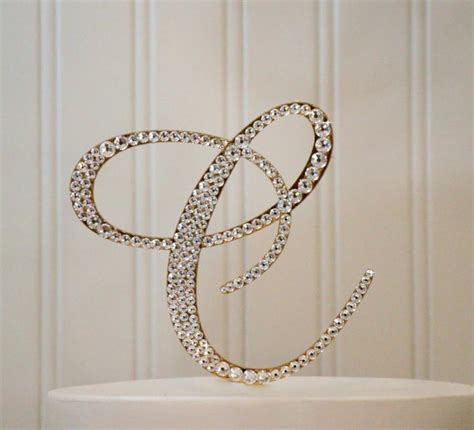 monogram gold wedding cake topper initial swarovski crystals   letter