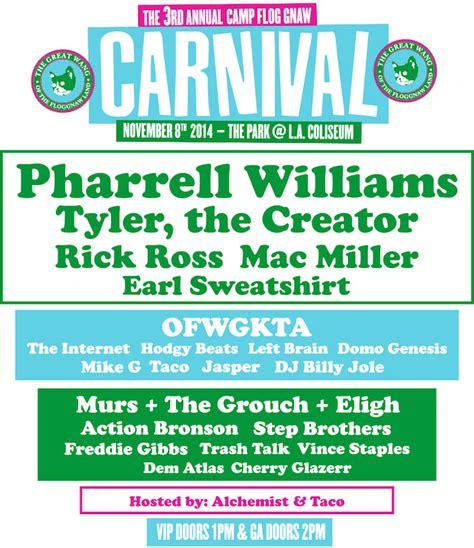 Pharrell + More To Headline 3rd Annual Odd Future Carnival
