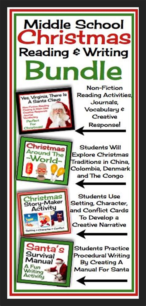 christmas reading writing activities student and middle school