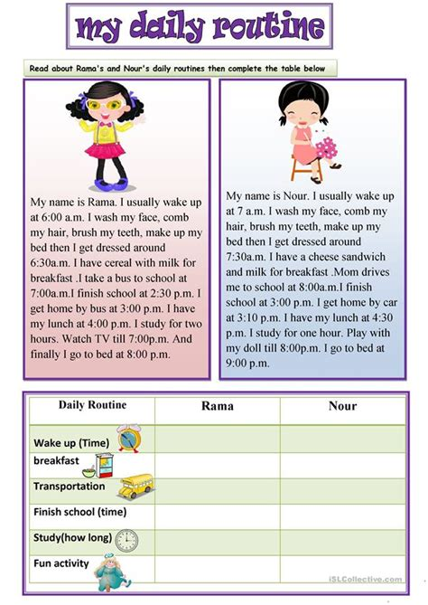 daily routine worksheet  esl printable worksheets