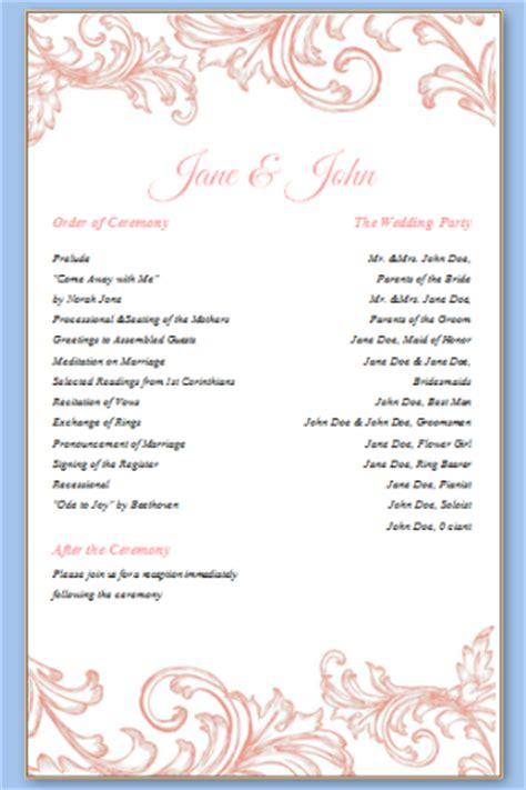One Page Wedding Program Templates Free