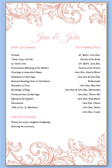 One Page Template  Wedding Programs Templates