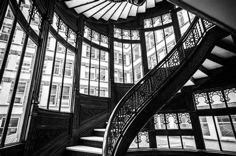 rookery building winding staircase  windows black