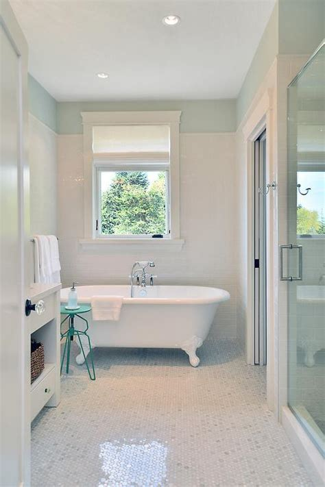 white bathroom  turquoise accents cottage bathroom