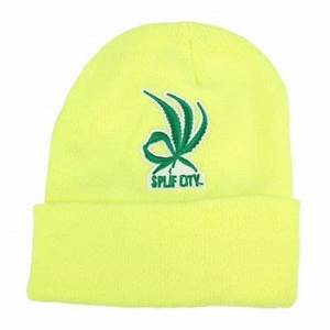 Splif City Weed Is Ok Neon Green Winter Plain Beanies