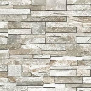 grandeco design vliestapete 39steinwand39 grau taupe bei With markise balkon mit tapete stone wall