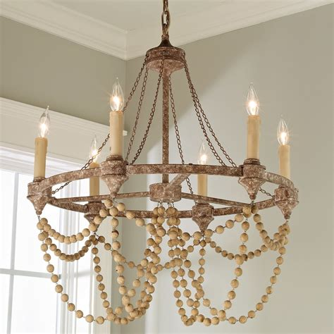 shades of light chandeliers rustic refined wood bead chandelier shades of light