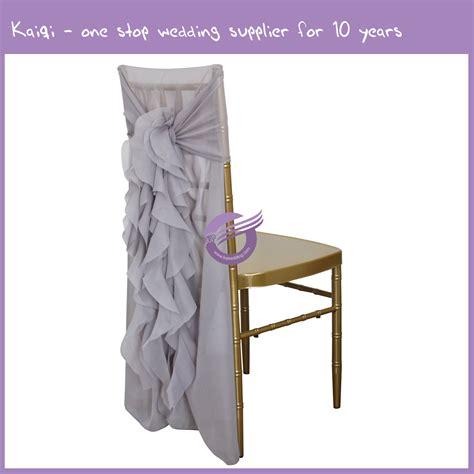 silver wholesale diy wedding ruffled chair sash ties