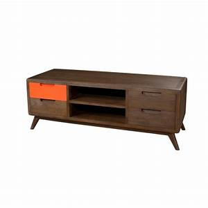 meuble tv vintage 4 tiroirs 2 niches orange bois 120cm With meuble orange