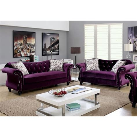 purple living room set furniture of america 2 tufted sofa set in