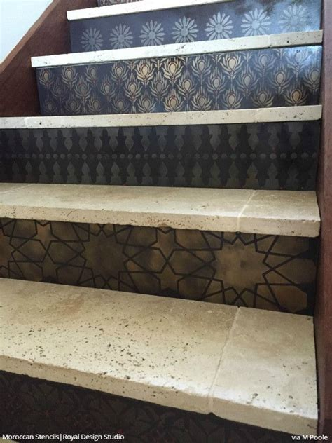ideas  stenciled stairs  pinterest