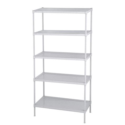 White Metal Storage Shelves by Edsal Perforated 71 In H X 35 5 In W X 18 In D 5 Tier