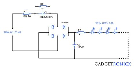 ac mains operated led light circuit diagram