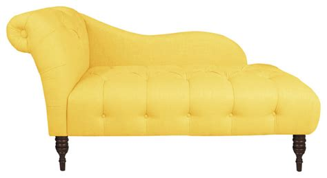 made to order yellow one arm tufted chaise lounge
