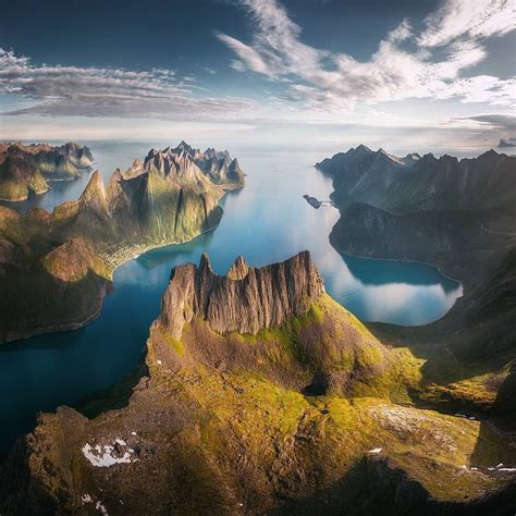 The Golden Light Of The Midnight Sun Above The Fjords Of