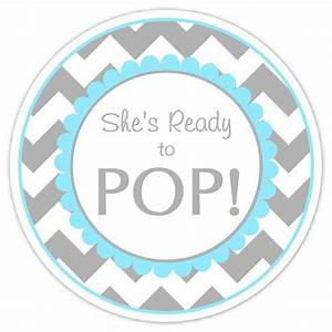 baby shower ready to pop labels gray and blue chevron With ready to pop stickers template
