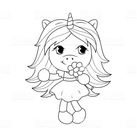 Kleurplaat Kawaii Unicorn by Baby Unicorn Holding Flower Coloring Page For