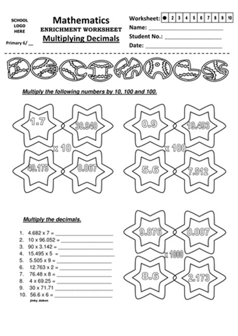 multiplying and dividing decimals year 6 worksheets