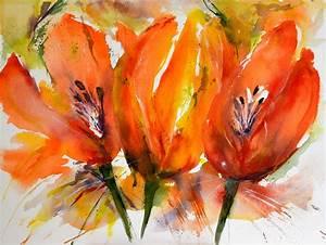 Aquarell Blumen Malen : aquarell blumen orange malen lernen im kurs aquarellmalerei aquarell blumen in 2019 ~ Frokenaadalensverden.com Haus und Dekorationen
