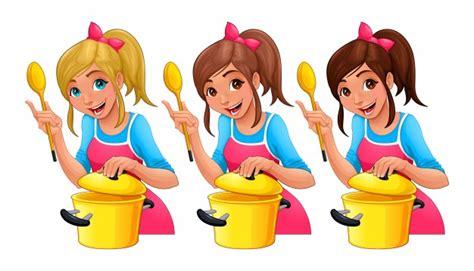 dessin animé de cuisine fille avec une cuillère cuisine trois personnages de