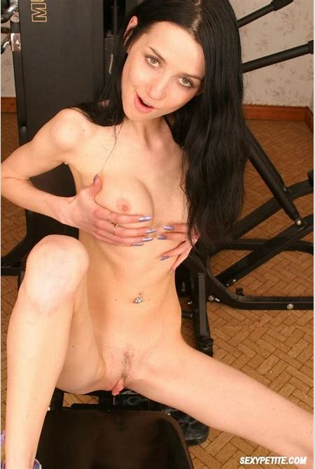 Skinny Brunette Pleasuring Shaved Pussy 3294 - page 2