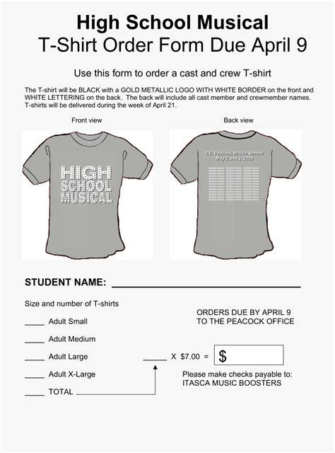 form template  shirt order  custom google docs