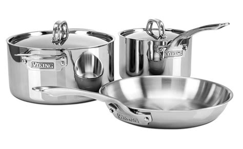 viking  ply stainless steel cookware set  piece cutlery