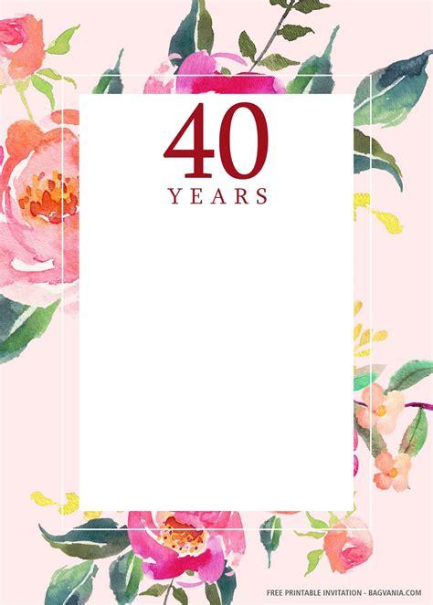 Nice (FREE PRINTABLE) 40th Birthday Invitation Templates