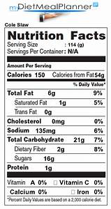 Kfc Nutritional Value Chart Sodium In Cole Slaw Nutrition Facts For Cole Slaw