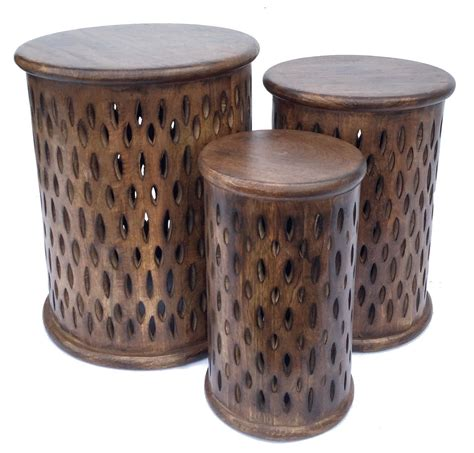 Beautiful Brown White Round Hand Carved Indian Wooden Side Coffee Table Stool   eBay
